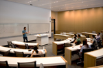 Economics classroom:  A spacious classroom on the ground floor is earmarked for courses in economics. Like all of the building's 15 classrooms, it features state-的-the-art audiovisual equipment, including the ability to capture and broadcast lectures over the internet.