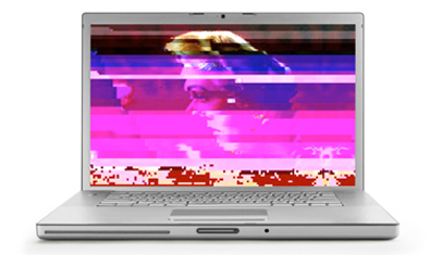 A laptop with pixelated distortion