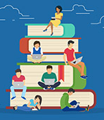 illustration of students sitting on a pile 的 books
