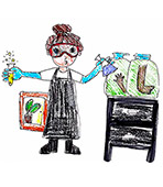 child's drawing 的 a female scientist